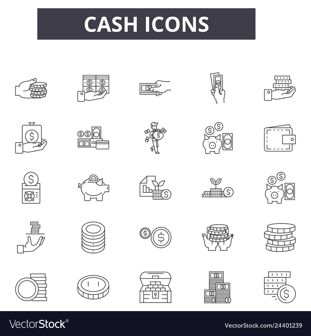Cash line icons for web and mobile design
