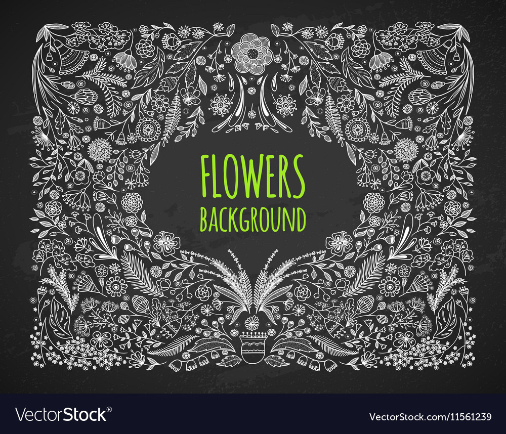 Floral background Hand drawing Linear style