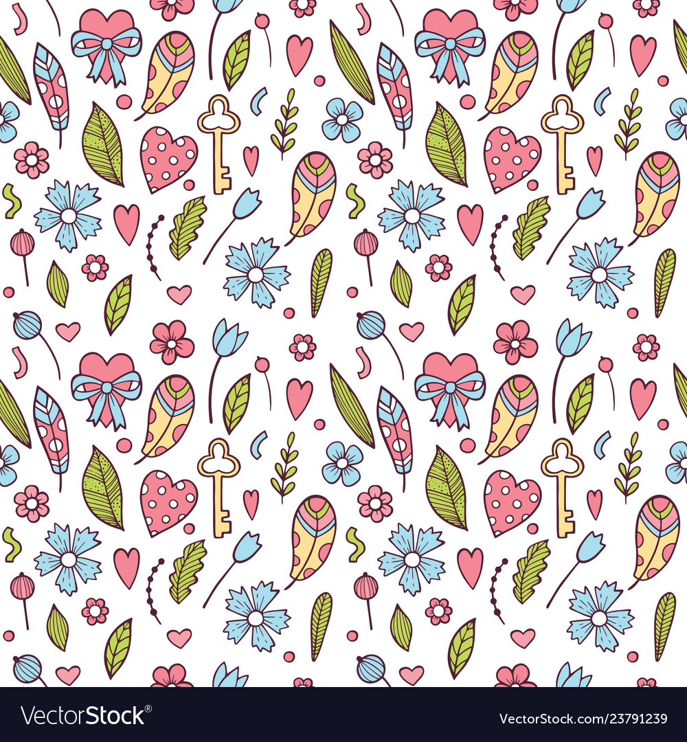 Hand drawn doodle love seamless pattern for