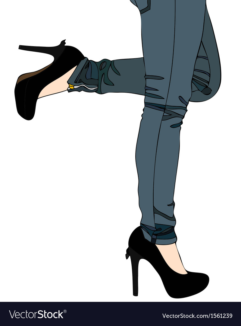 Jeans and Sexy High Heels vector image