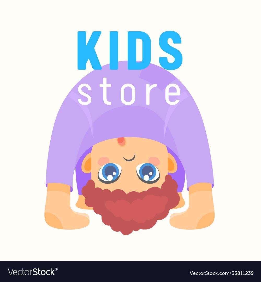 Kids store banner baby shop label or emblem