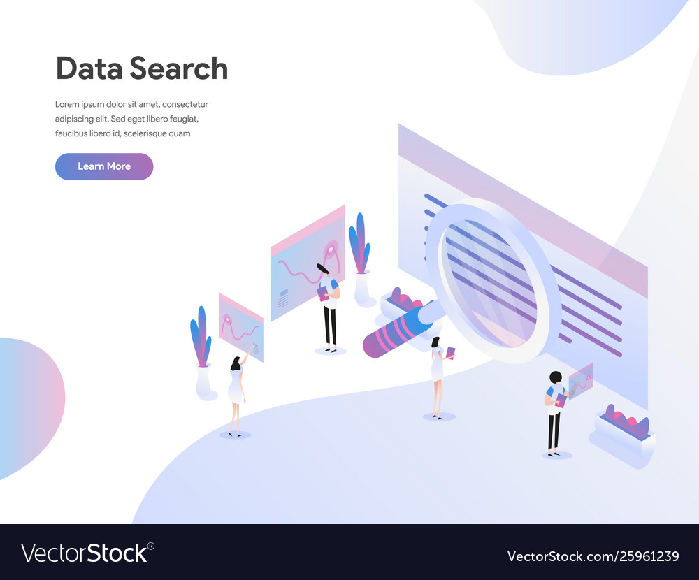 Landing page template data search isometric