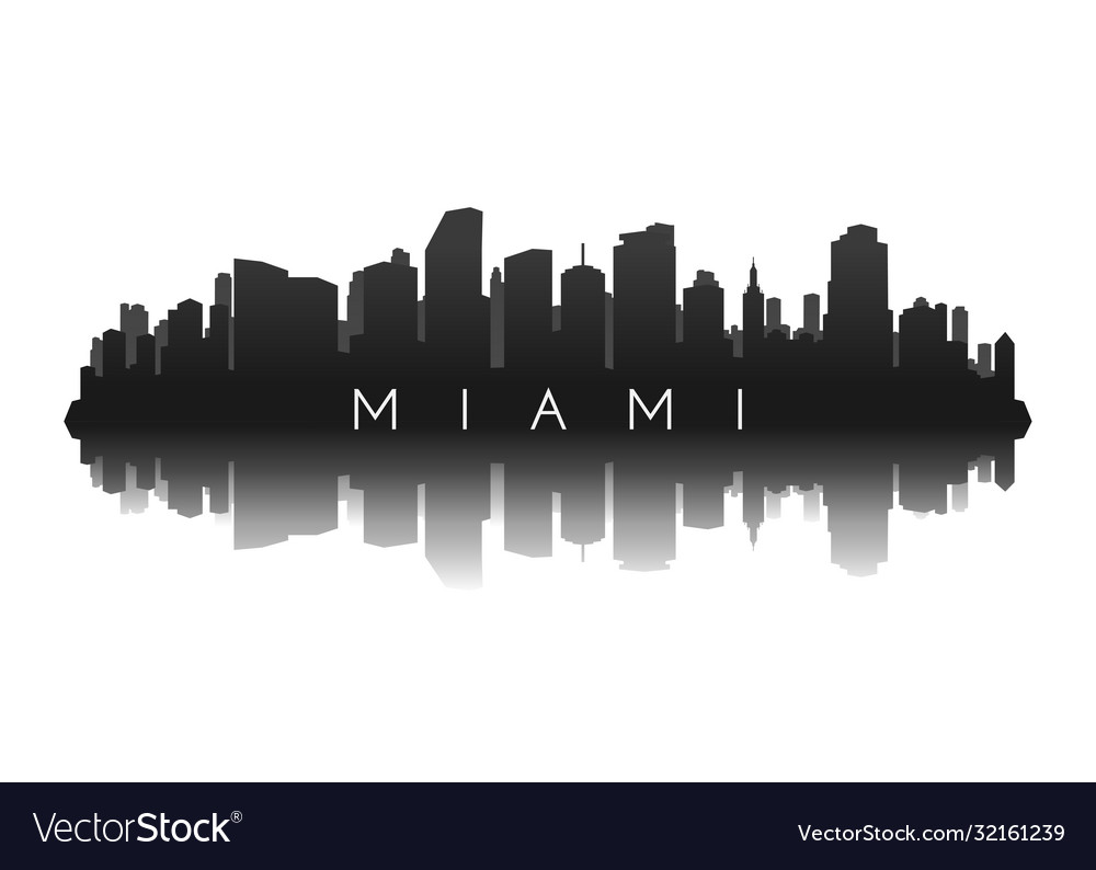 Miami skyline in black with reflection vector