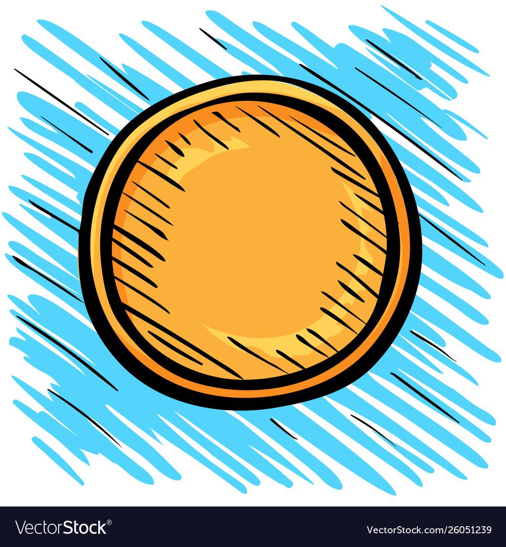 One gold coin sketch logo