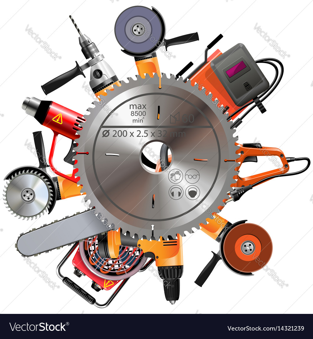 Saw with power tools