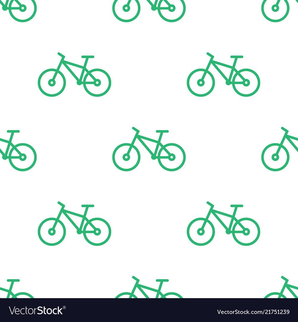 Seamless bike pattern green line bicycle