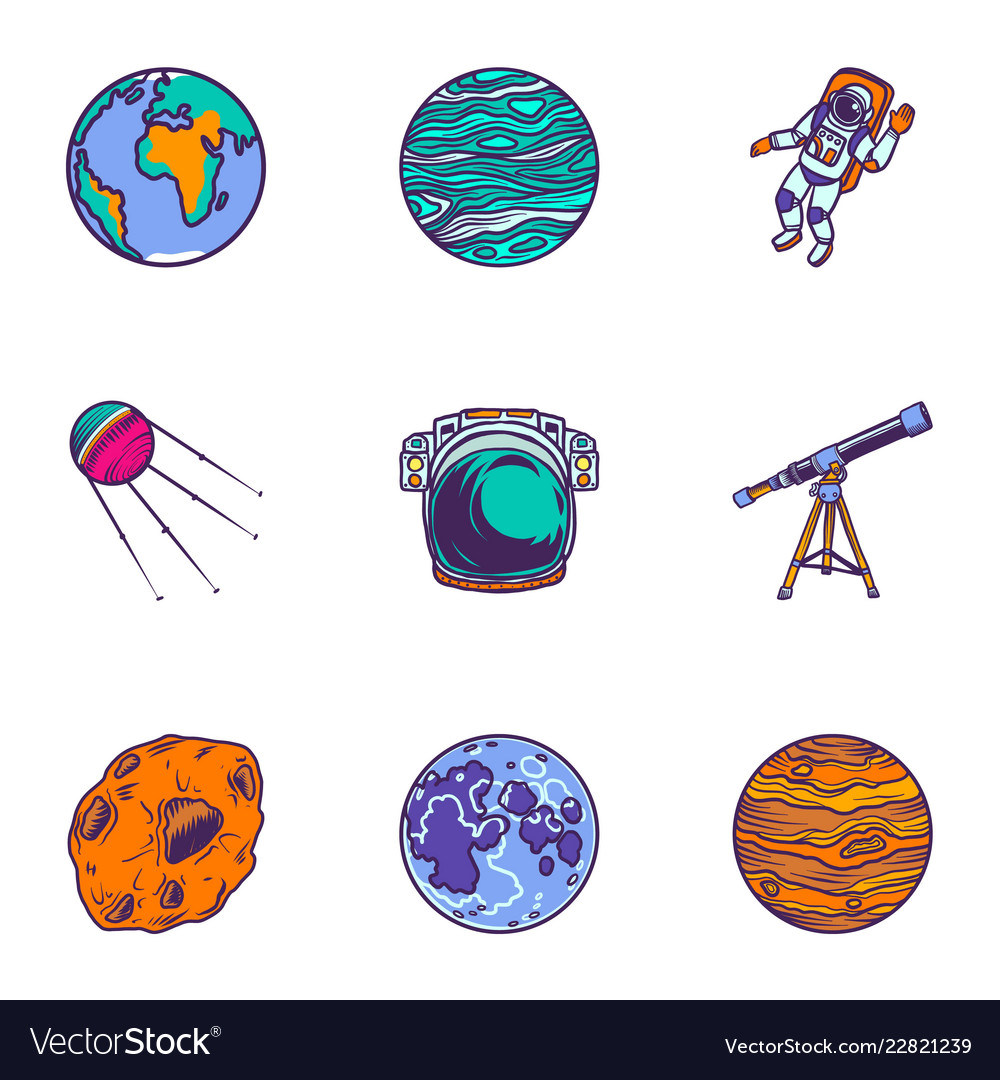 Space planet icon set hand drawn style
