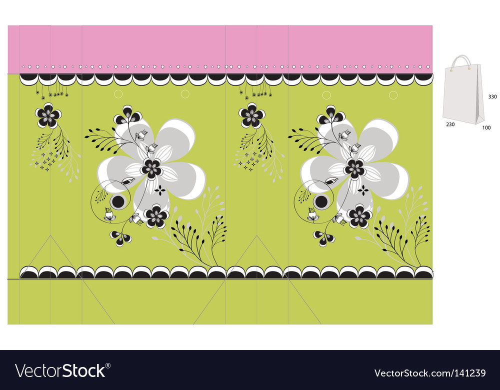 Template for gift bag Royalty Free Vector Image