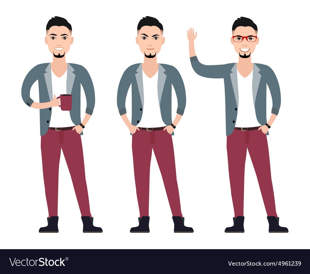 Young man character in a suit flat set in