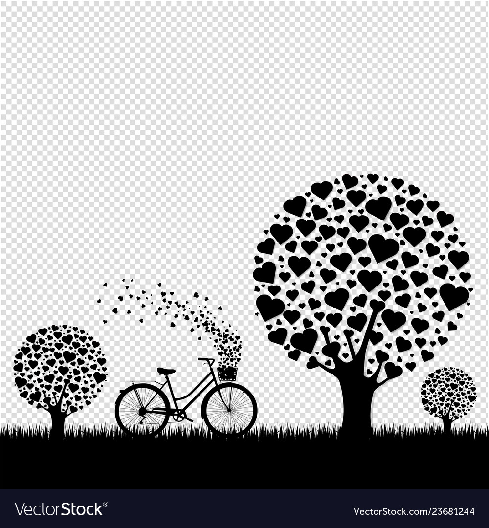 Black wood with hearts with bicycle transparent
