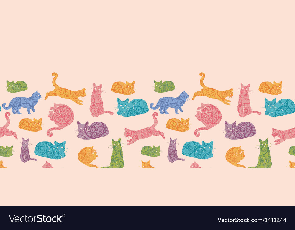 Colorful cats silhouettes horizontal seamless vector image