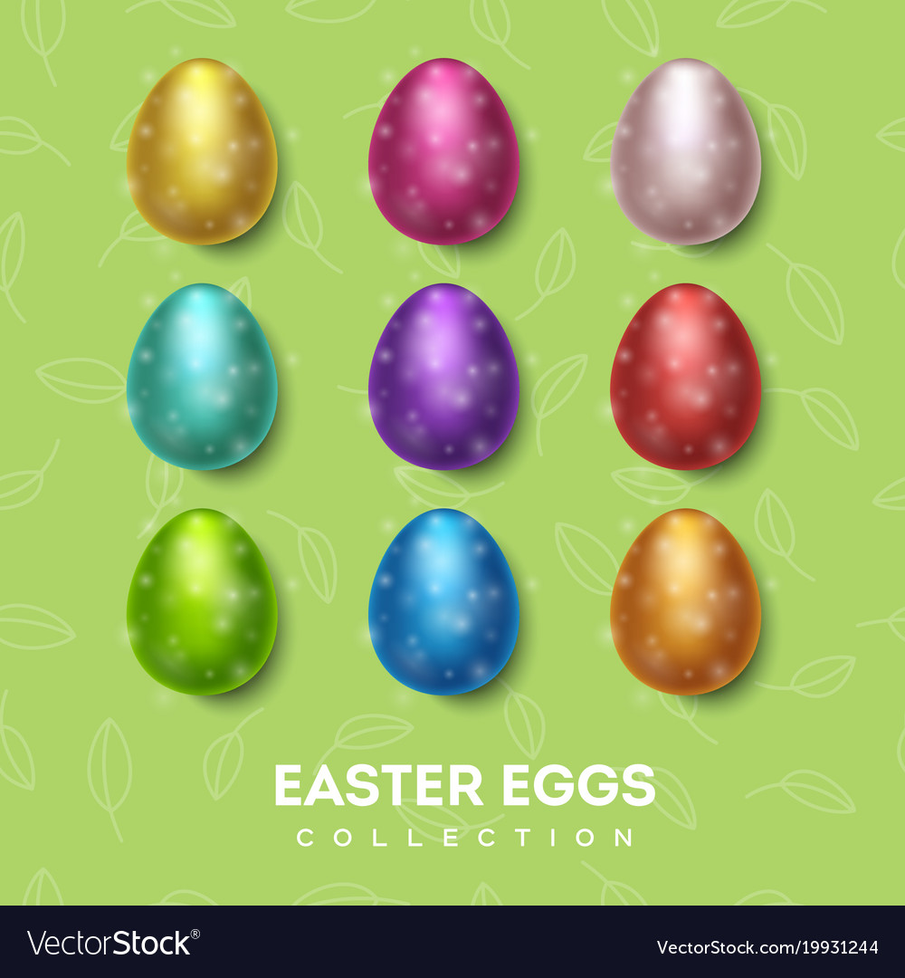 Easter eggs collection color