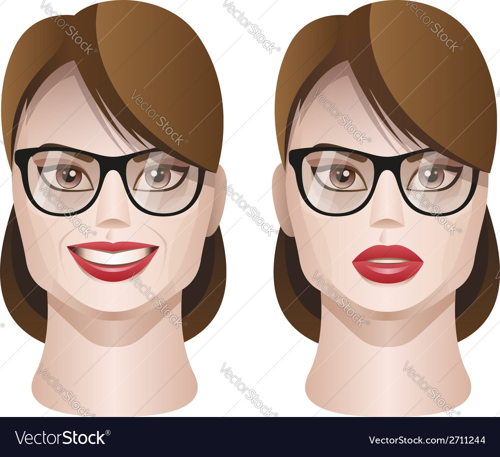 Female faces with glasses