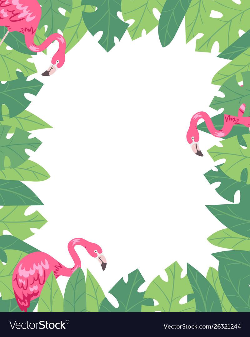 Flamingo vertical banner beach design jungle