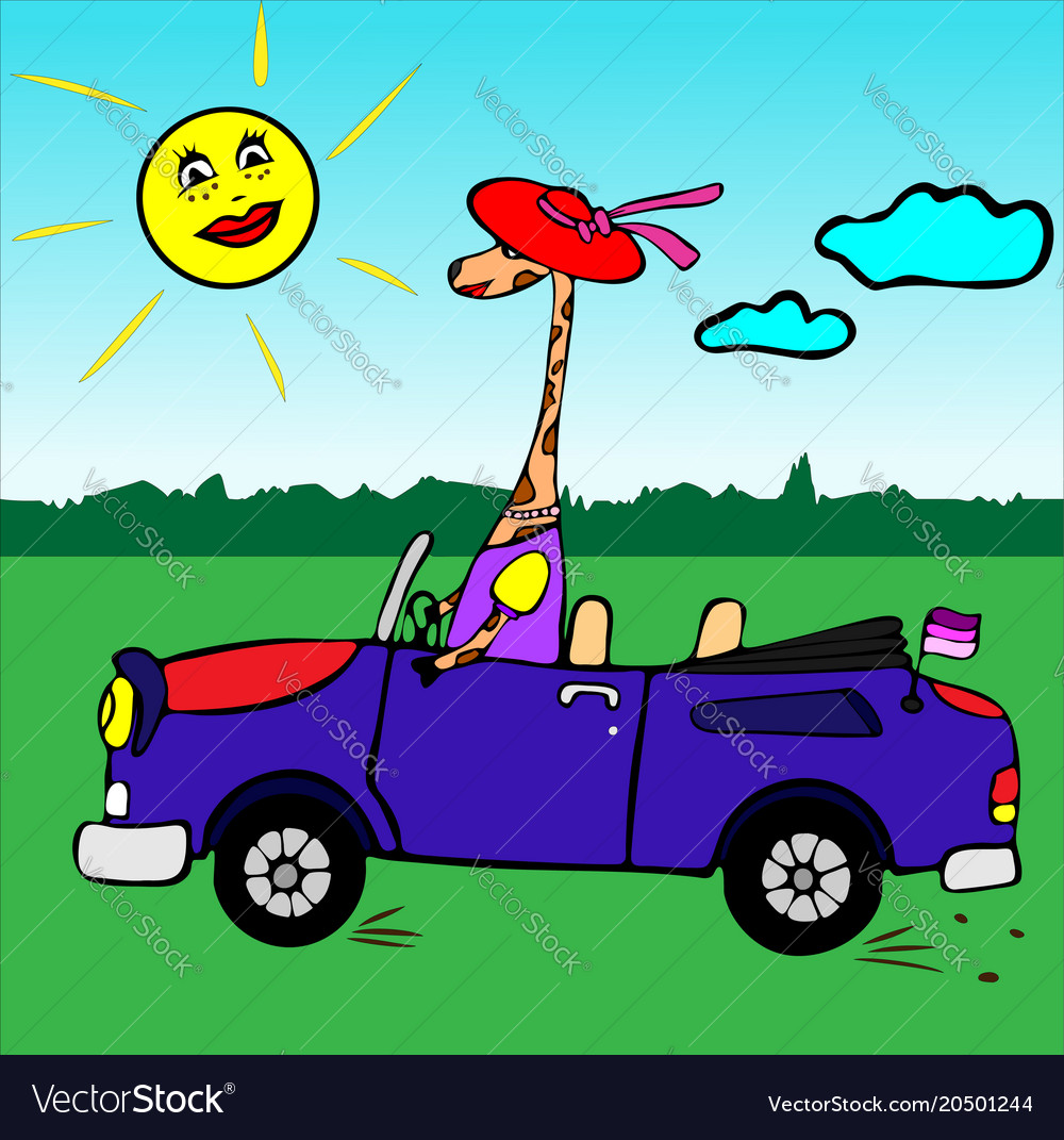 Giraffe girl in a red hat rides in a blue car