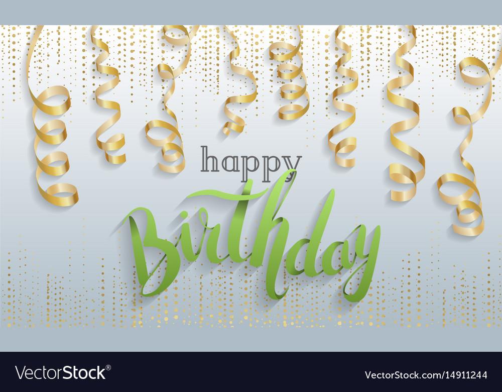 Happy Birthday Gift Card Confetti Royalty Free Vector Image