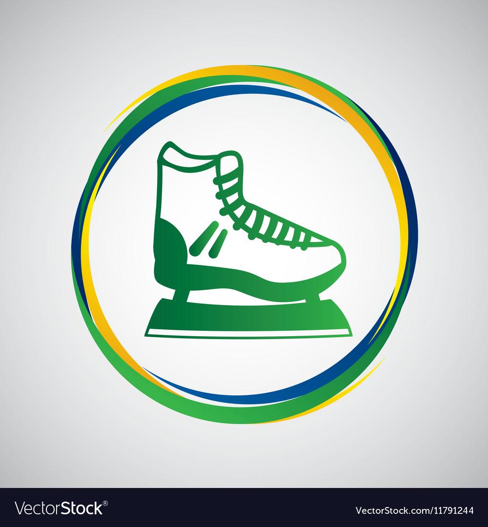 Ice skater sport badge icon