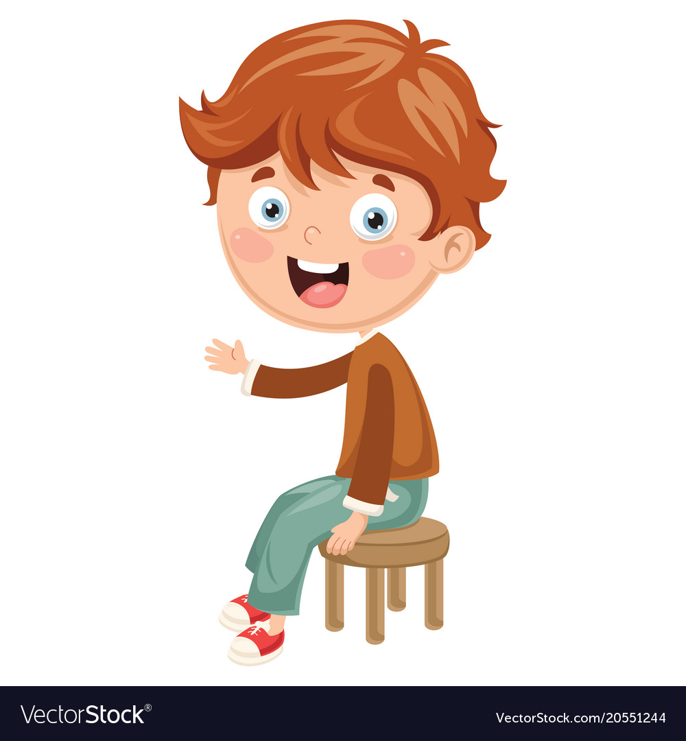 Kid Sitting On Chair Royalty Free Vector Image