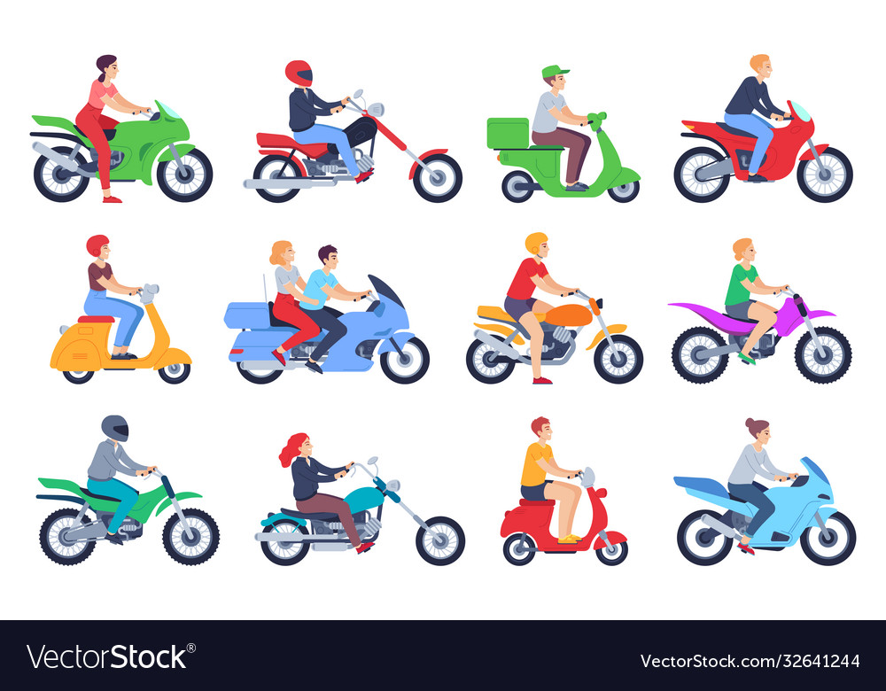 Motorcycle riders men and women drivers in helmet