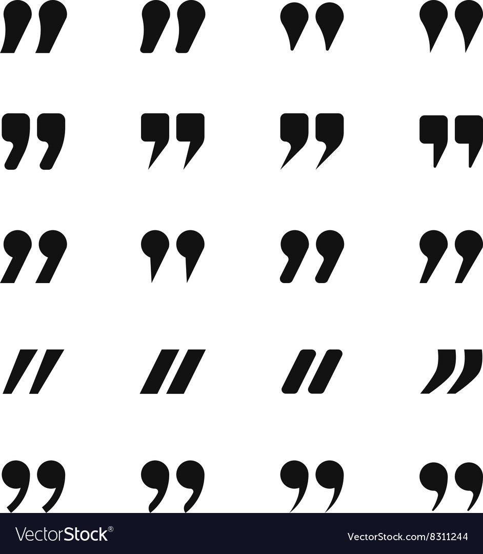 Quote and quotation marks icons