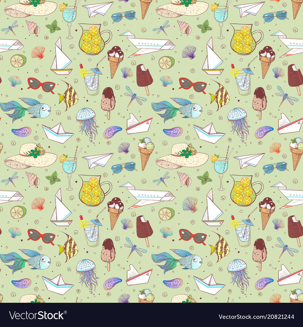 Seamless pattern with summer doodle sketch