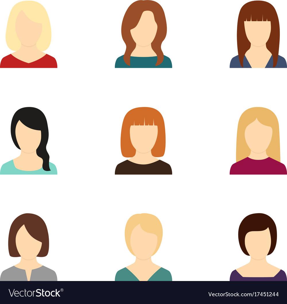 Set of avatars of beautiful girls