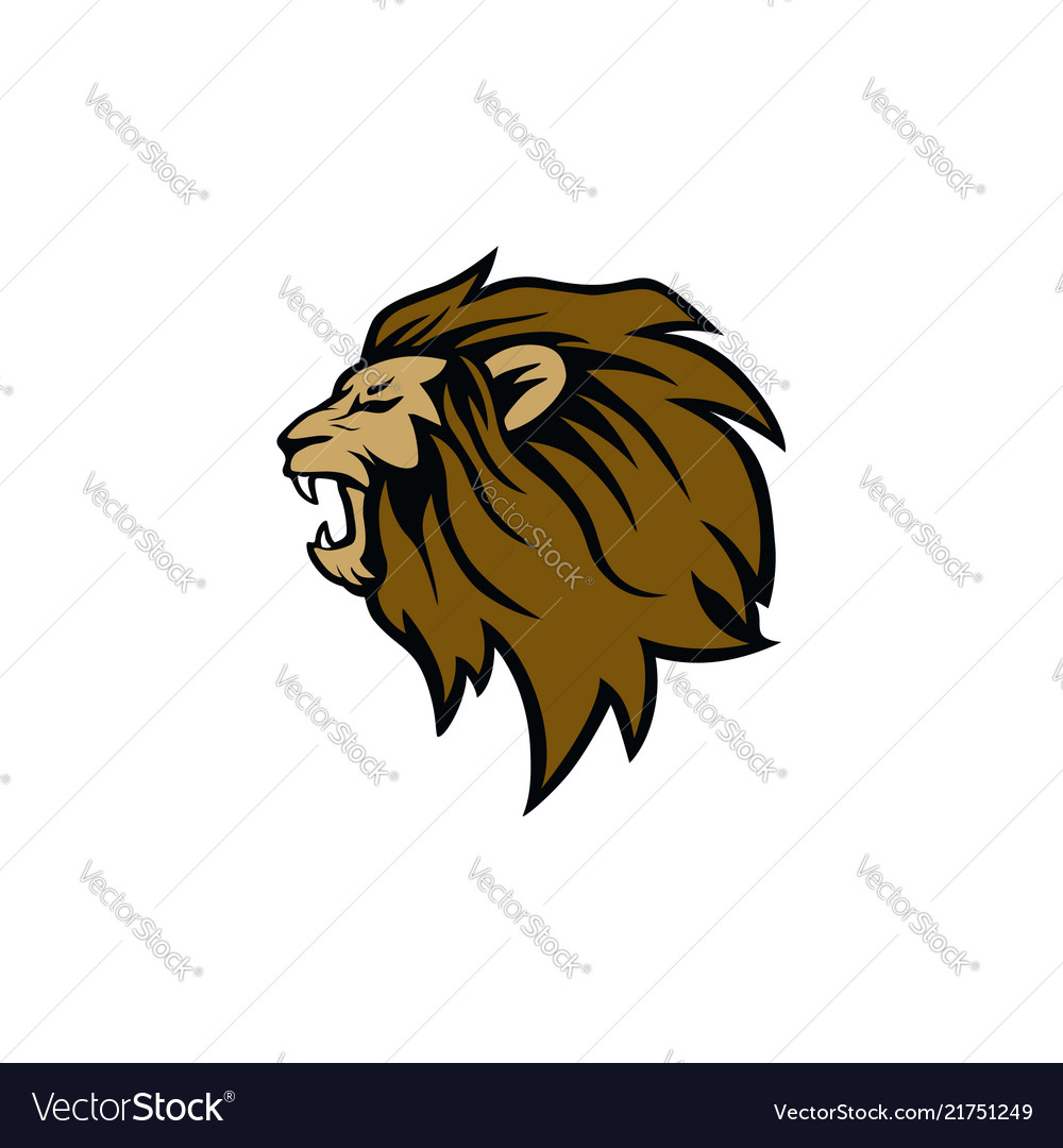 Angry roaring lion head logo sign design