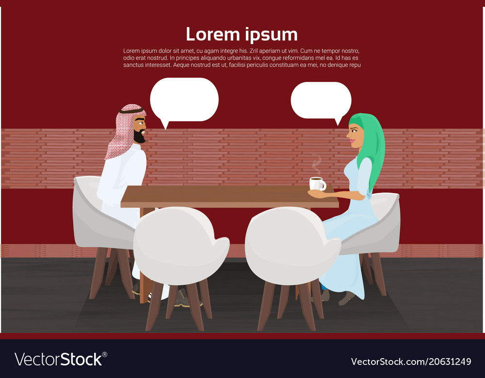 Arab man and woman drinking coffee in modern cafe
