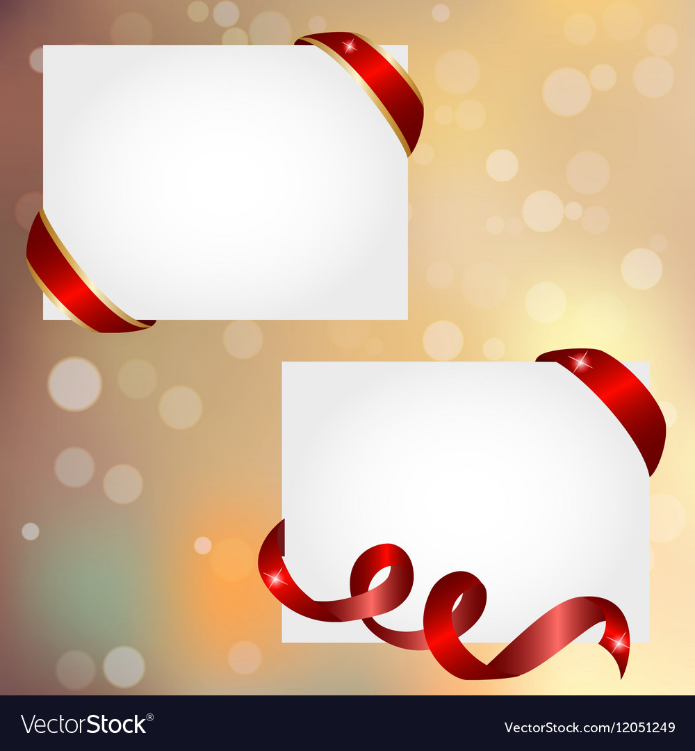 Christmas banner with red ribbon