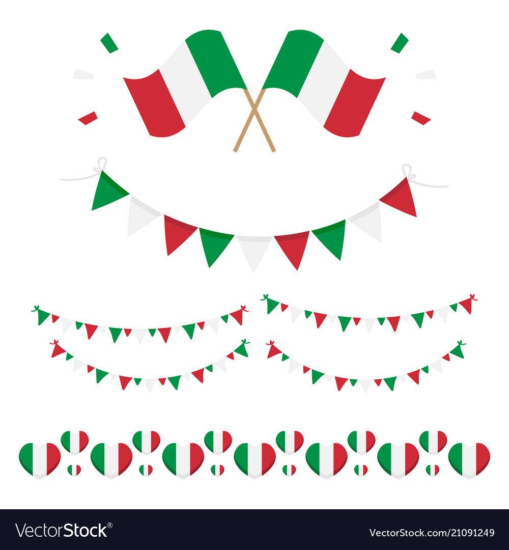 Italian flags and ribbons vector image