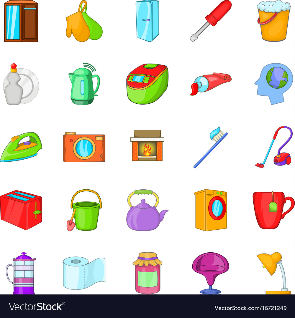 Kitchen Cleaning Icons Set Cartoon Style Vector Image