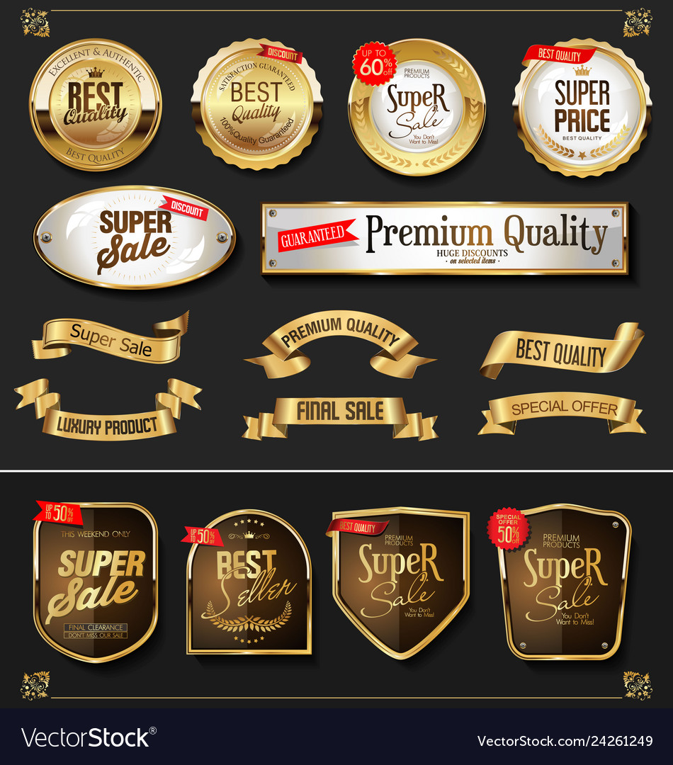 Retro golden ribbons labels and shields