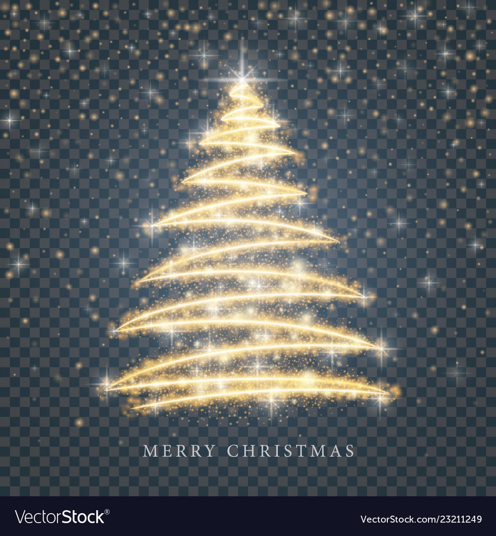 Stylized gold merry christmas tree silhouette from