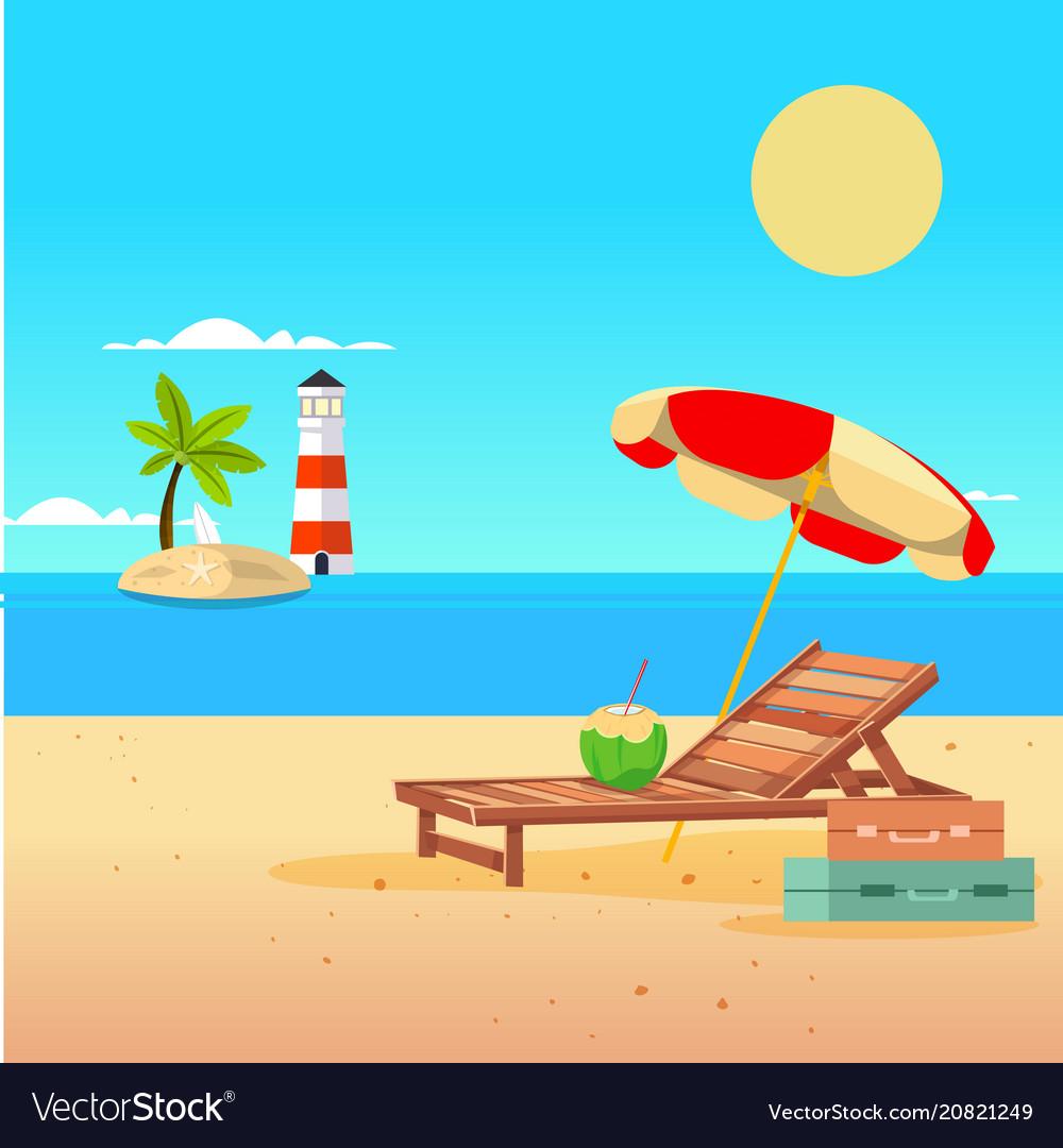 Summer beach umbrella chair lighthouse background