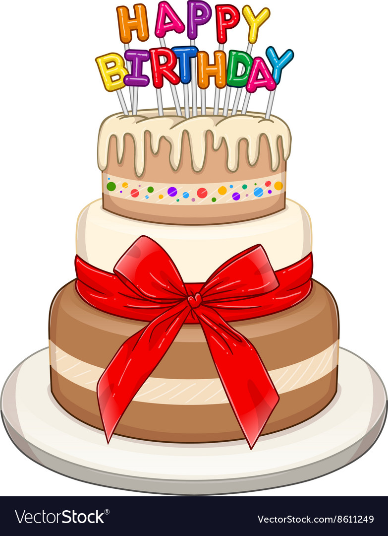 Awe Inspiring Three Floors Happy Birthday Cake Royalty Free Vector Image Funny Birthday Cards Online Alyptdamsfinfo