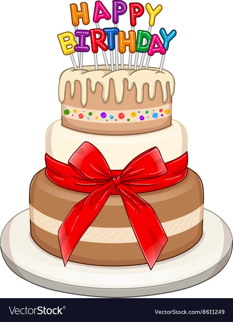 Peachy Three Floors Happy Birthday Cake Royalty Free Vector Image Funny Birthday Cards Online Inifodamsfinfo