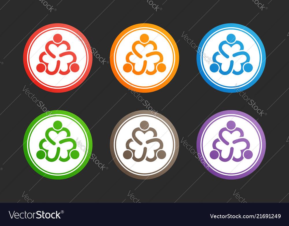 Three people heart icon set design