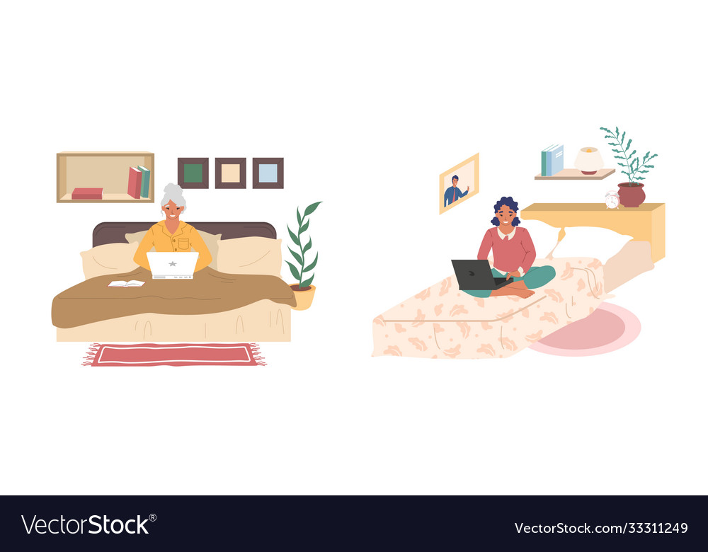Young and senior women sitting on their beds