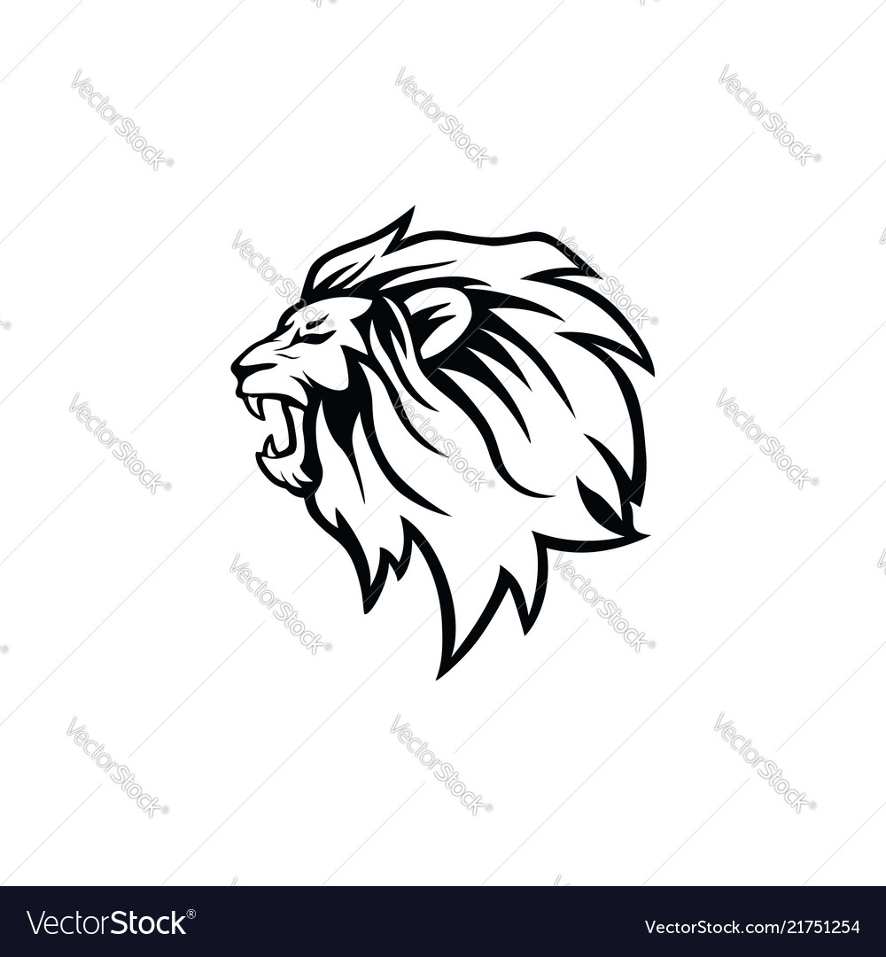 Angry roaring black and white lion head logo vector image