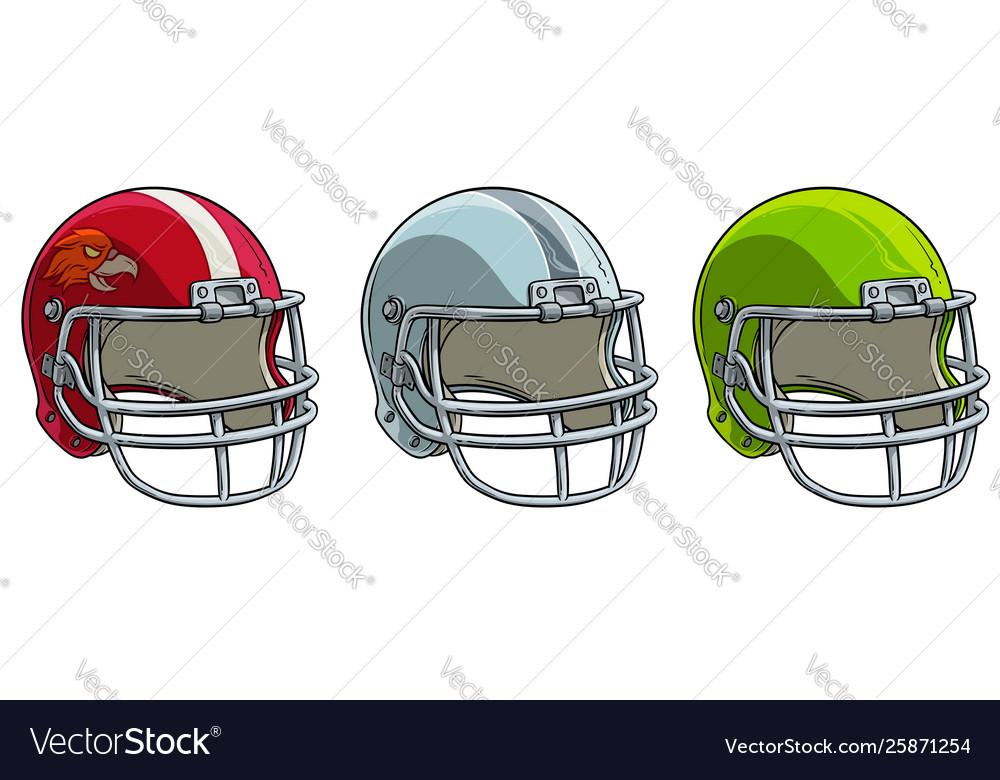 Cartoon american football helmet icon set