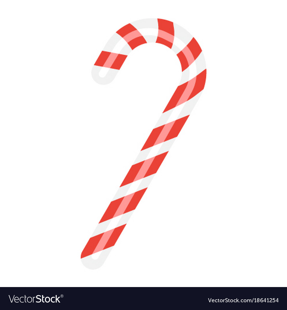christmas candy cane flat icon new year vector image - Christmas Candy Cane