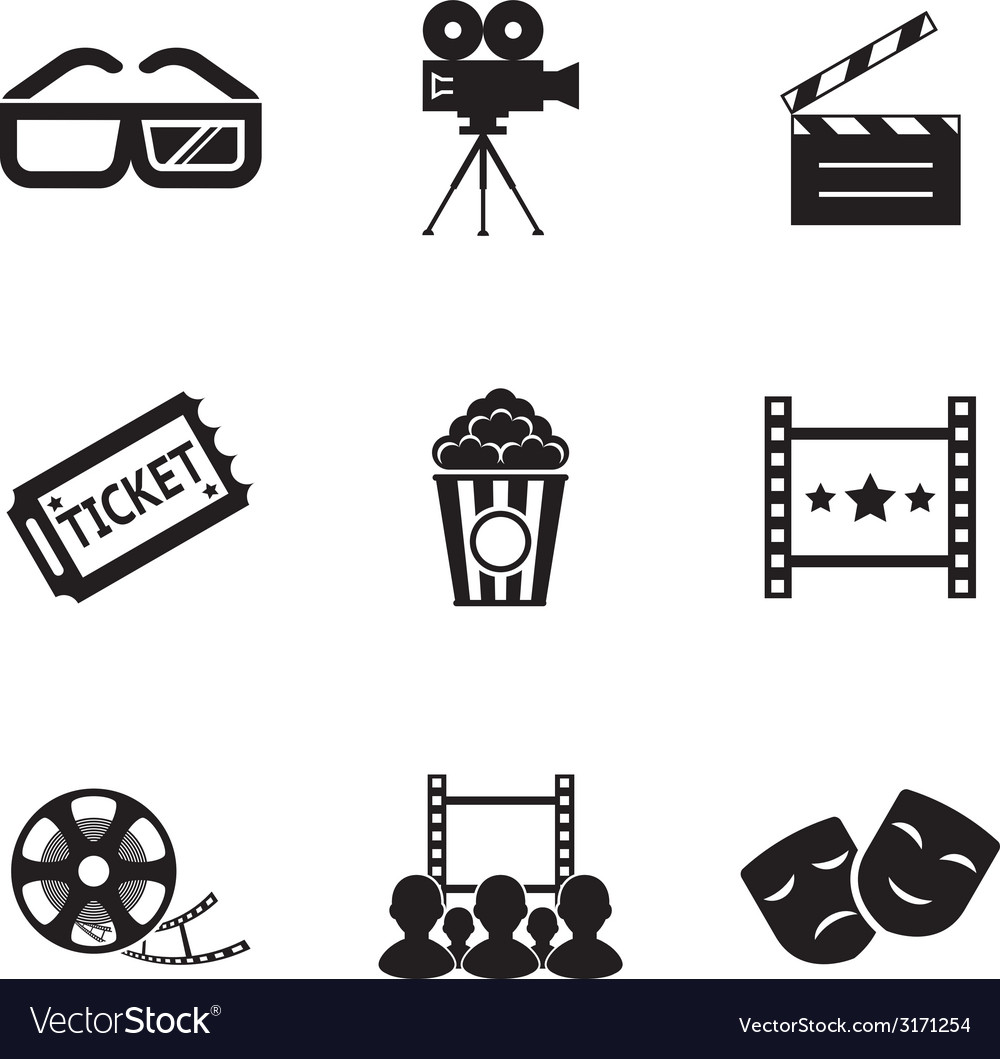 Cinema And Movie Icon Set Modern Trendy Silhouette