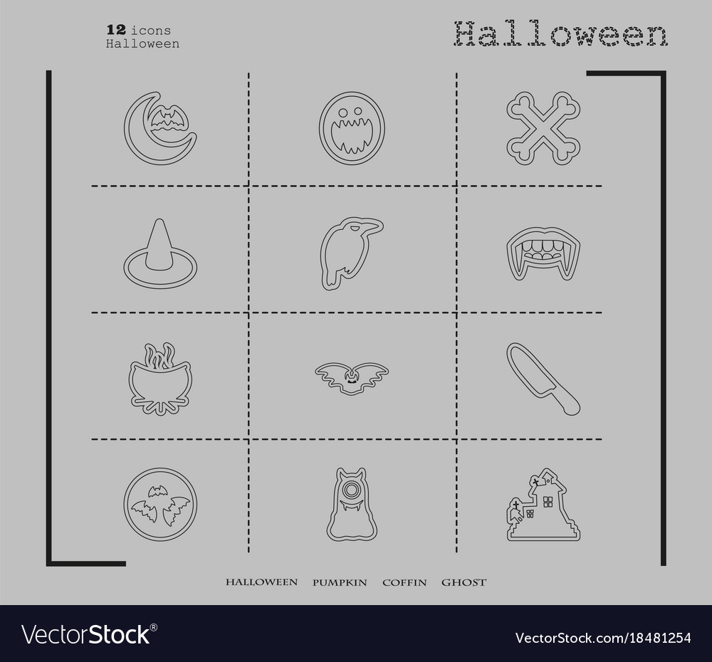 Collection of 12 halloween icons in thin line
