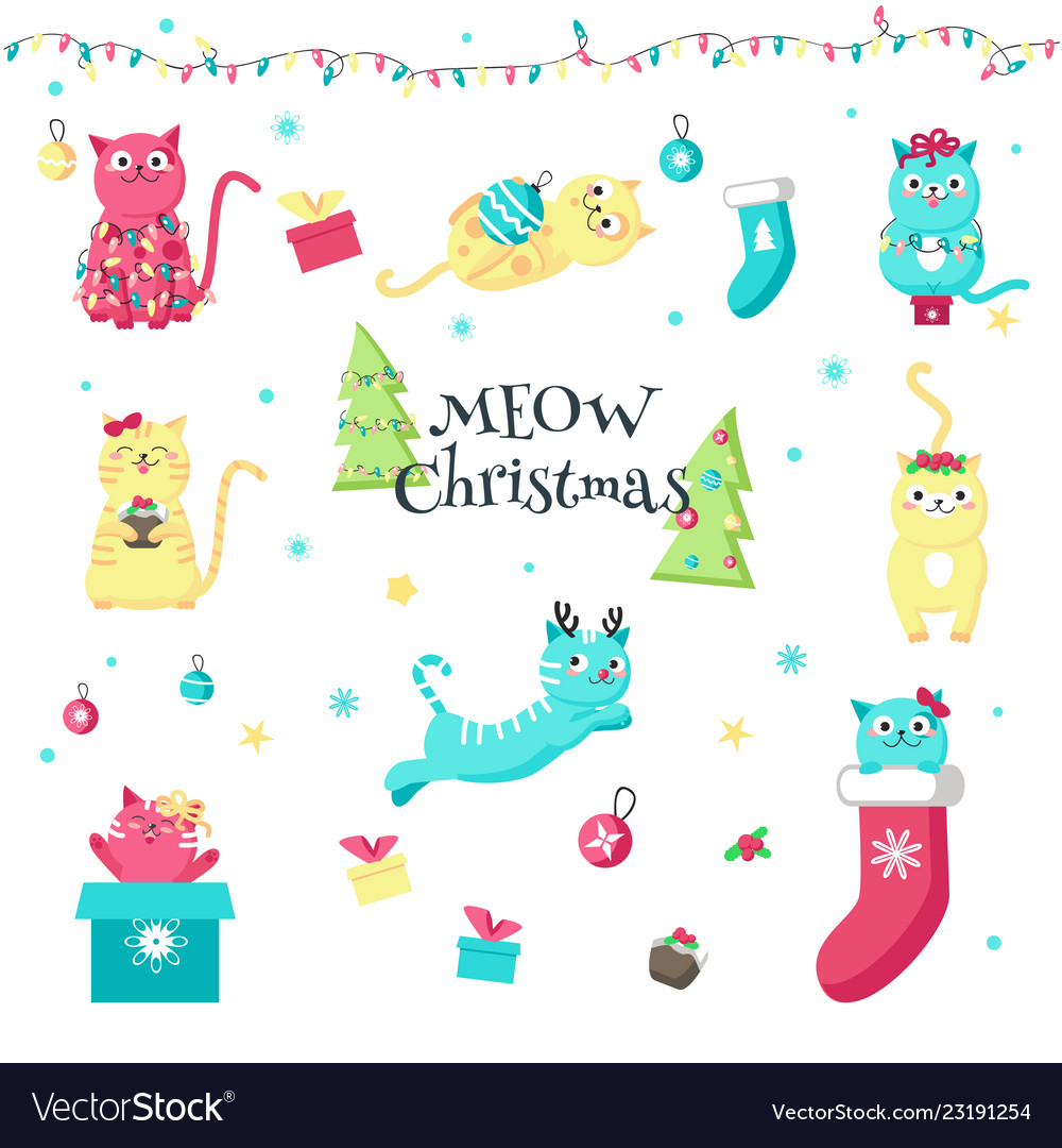 Cute funny christmas cats isolated