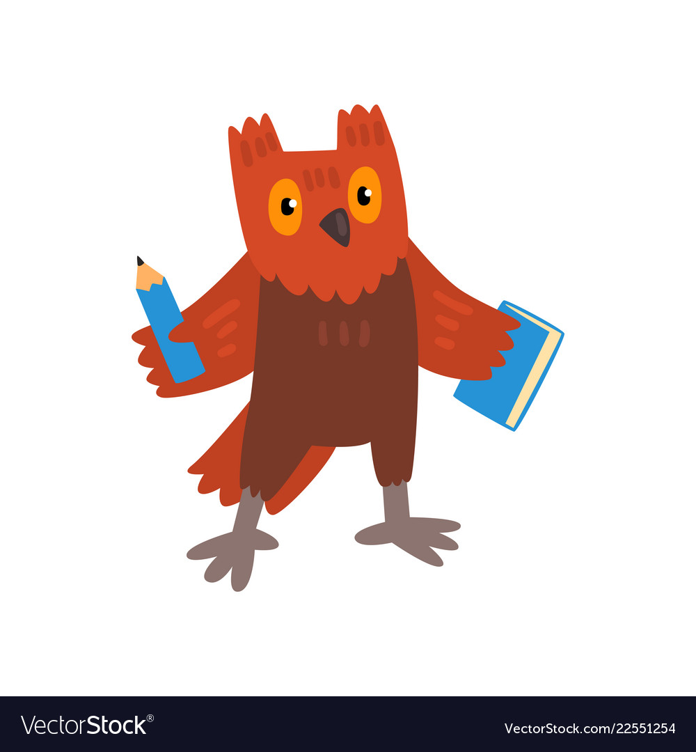 Cute owl bird cartoon character with pencil and