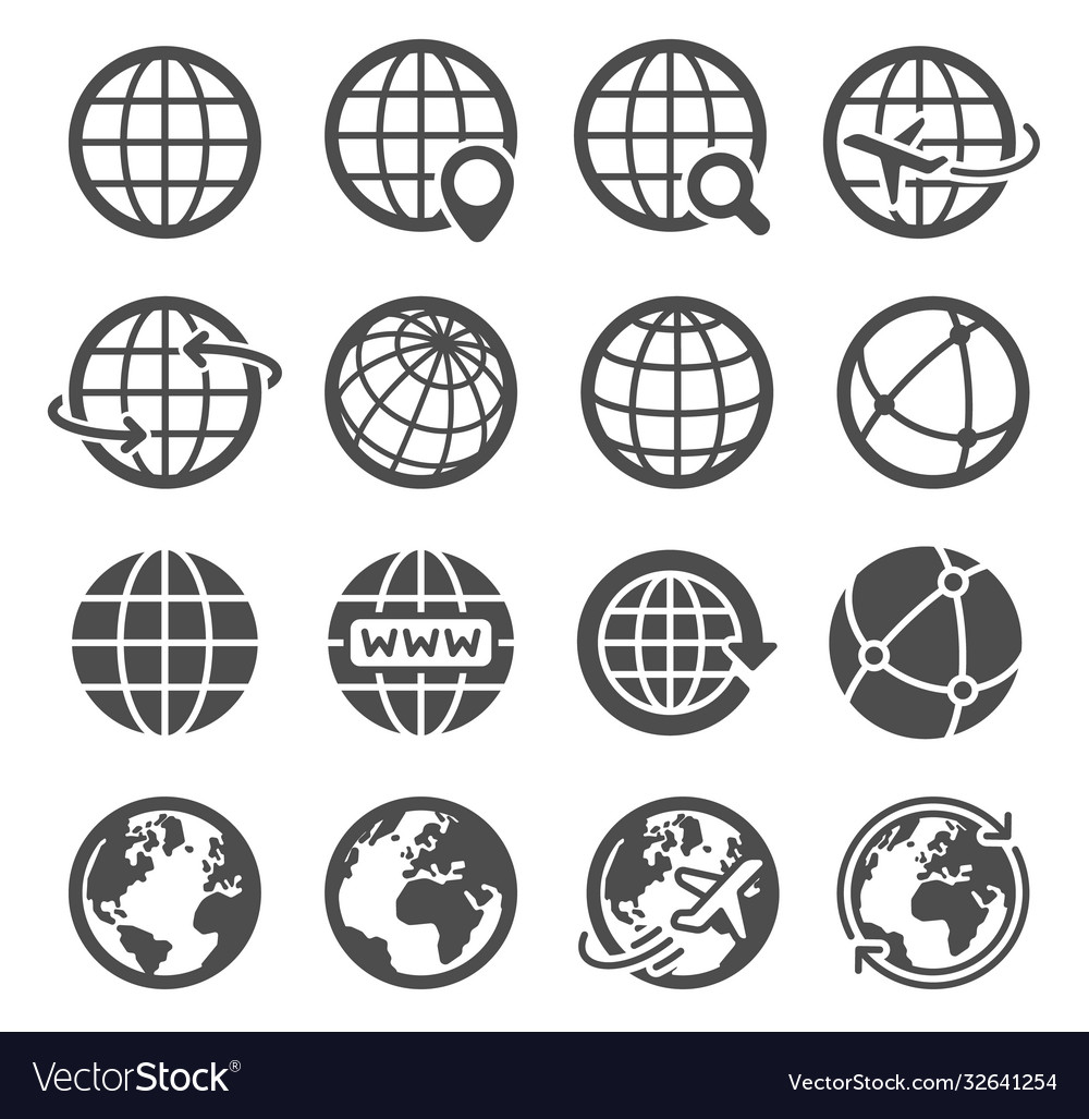 Earth globe icons worldwide map spherical planet