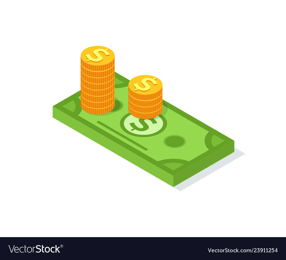 Golden coins stacks and dollar bill sign isolated