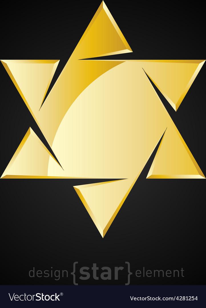 Golden star of David on black background