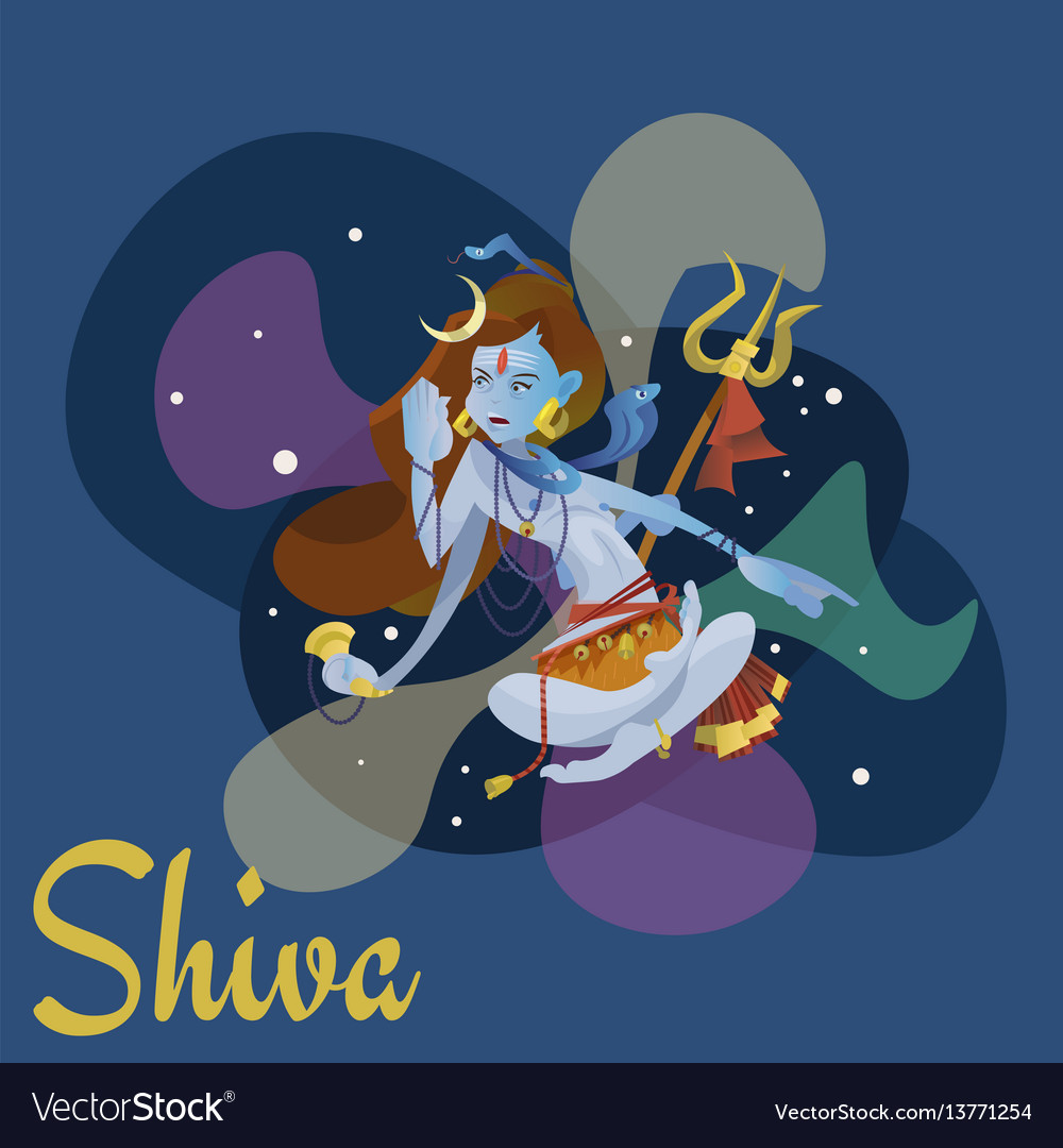 Lord shiva indian god in lotus position and