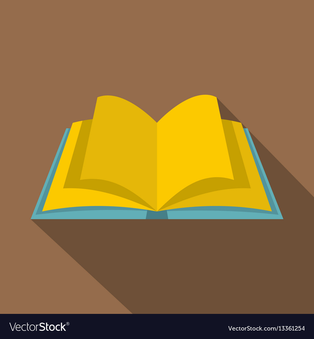 open book with yellow pages icon flat style vector image